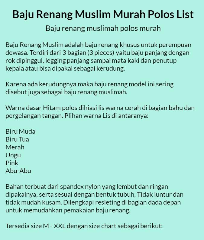 Detail produk dari Baju Renang Muslim Dewasa Polos List Baru - 202