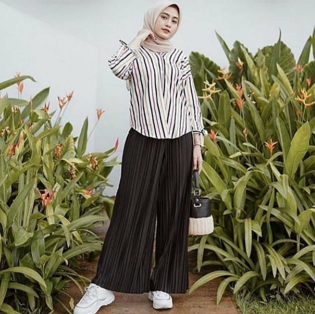 Ootd celana kulot plisket / celana kulot plisket / celana kulot plisket  termurah / celana kulot plisket terlaris | Lazada Indonesia