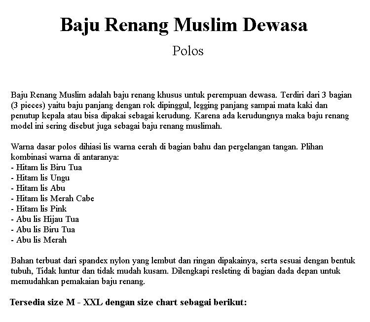 Detail produk dari Baju Renang Muslim Polos Lis Tangan Untuk Remaja dan Dewasa