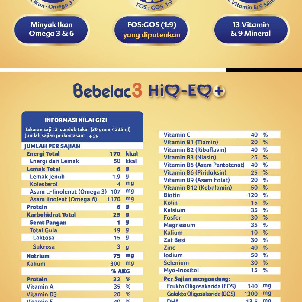 Bebelac 3 HiQ-EQ Madu 800 gr - Bundle isi 3 Kaleng - Susu