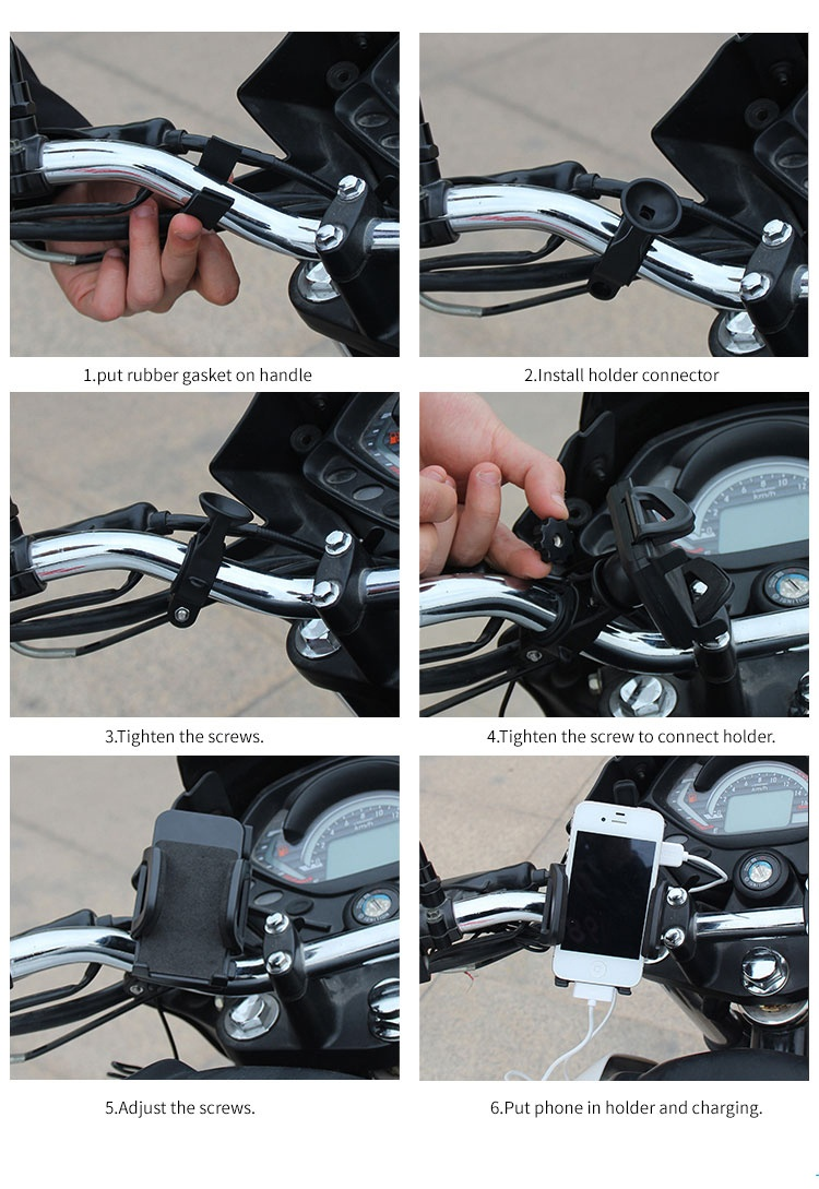 waterproof mobile phone usb motorcycle charger with holder